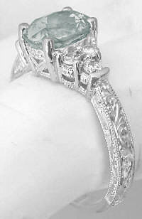 Antique Style Prasiolite Engagement Rings