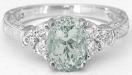 Green Amethyst Engraved Engagement Ring in 14k