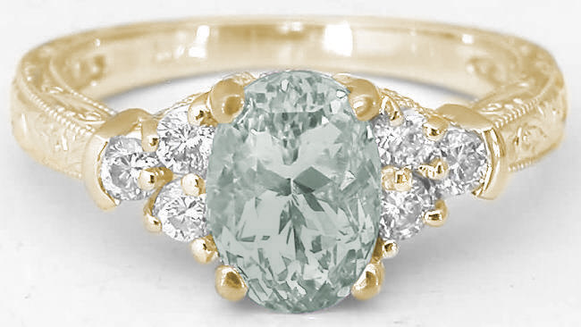 Vintage Green Amethyst Ring in 14k yellow gold GR2128