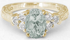 Vintage Prasiolite (Green Amethyst) Engagement Rings in 14k