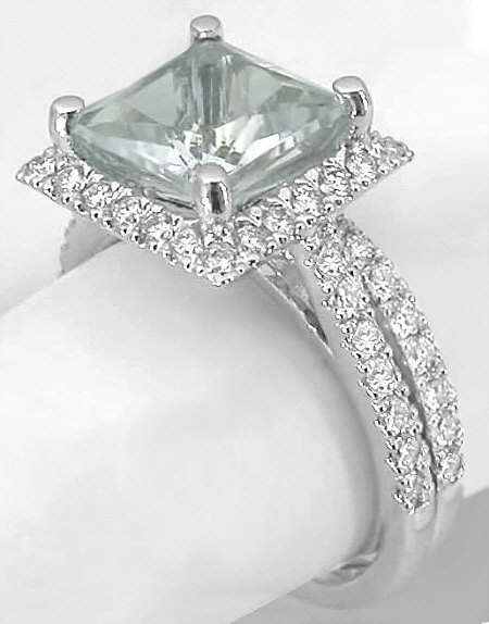 8mm Princess Cut Green Amethyst And Diamond Engagement