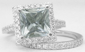 Princess Cut Green Amethyst Engagement Rings