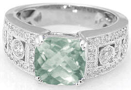 Cushion Cut Green Amethyst and Diamond Wide Band Engagement Ring
