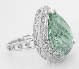 Pear Shape Green Amethyst Ring in 14k white gold