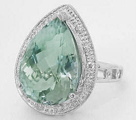 Pear Shape Green Amethyst and Diamond Ring in 14k white gold