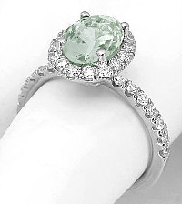 Prasiolite Diamond Halo Rings