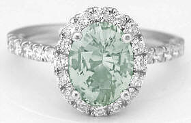 Oval Prasiolite Diamond Ring in White Gold