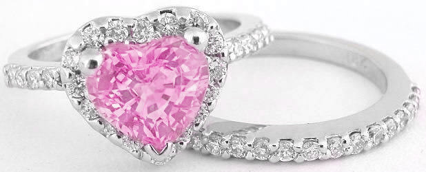 Heart Shape Pink Sapphire and Diamond Halo Ring in 14k White Gold