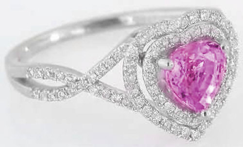 Heart Shape Pink Sapphire Engagement Ring In 14k White