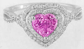 Heart Shape Pink Sapphire and Diamond Ring in 14k white gold
