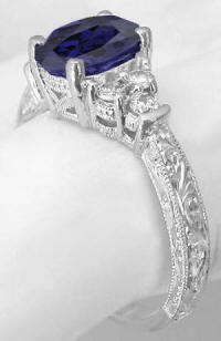 Iolite Engagement Rings in white gold with Engraving