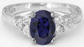Iolite Rings in 14k white gold with Engraving