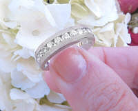 Men's 1 carat Round Cut Real Diamond Wedding Band in solid 14k white gold. Channel Set diamonds.