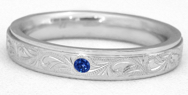 Mens 6mm Blue Sapphire Wedding Band in 14k MR5021