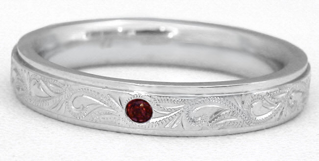 mens garnet wedding band with engraving - Garnet Wedding Ring