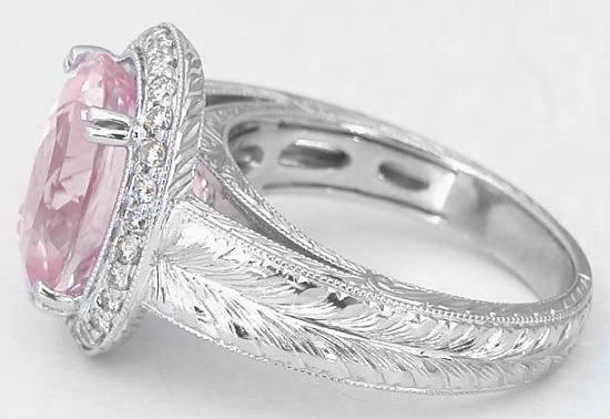 e of a Kind Natural Light Pink Sapphire and Diamond Halo Engagement R