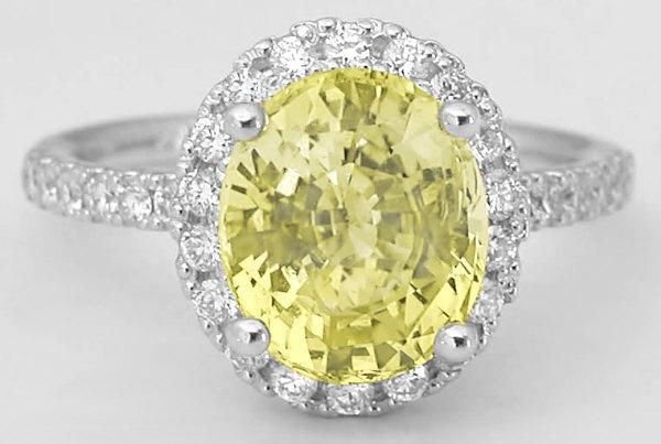 Diamond Halo Unheated Yellow Sapphire Engagement Ring in 14k white ...