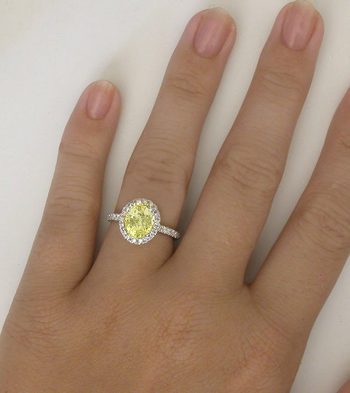 Diamond Halo Unheated Yellow Sapphire Engagement Ring in 14k white ...