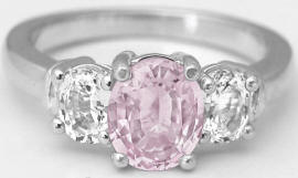 Unheated Light Pink Sapphire and White Sapphire Ring in 14k gold