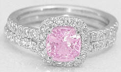 Untreated Light Pink Sapphire Engagement Ring and Wedding Ring
