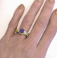 Three Stone Amethyst Engagement Rings in 14k Yellow Gold