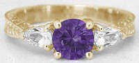 February Birthstone Amethyst Promise Rings in 14k Yellow Gold