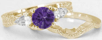 February Birthstone Amethyst Engagement Rings in 14k Yellow Gold