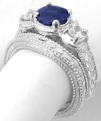 Three Stone Sapphire and White Sapphire Engagement Ring and Wedding Band in 18k white gold