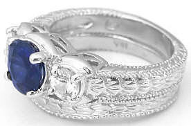 Sapphire and White Sapphire Engagement Ring Wedding Band in 18k white gold