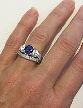 Antique 3 Stone Sapphire Engagement Ring and Wedding Band