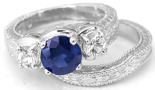 Sapphire and White Sapphire Ring and Wedding Band in 18k white gold