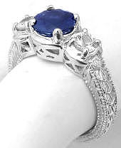 Past Present Future Sapphire and White Sapphire Ring and Wedding Band in 18k white gold