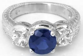 Vintage Sapphire and White Sapphire Ring and Wedding Band in 18k white gold