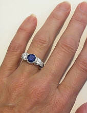 Engraved All Sapphire Engagement Ring in 18k