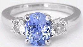 Ceylon Sapphire and White Sapphire Ring in 14k white gold