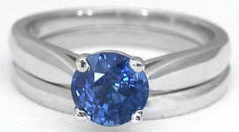 Sapphire Solitaire Engagement Ring and Wedding Band in 14k