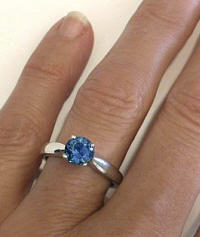 Sapphire Solitaire Rings in 14k white gold