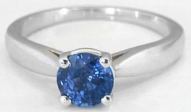 1 carat Natural Sapphire Solitaire Ring in Real 14k white gold for sale