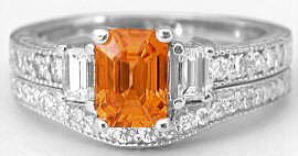 Natural Emerald Cut Orange Sapphire Engagement Ring with Baguette and Round Diamonds in 14k gold