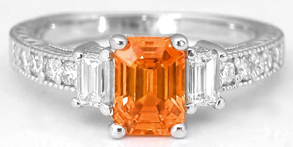 Vintage Inspired Emerald Cut Orange Sapphire And Diamond Ring Antique Style