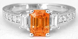 Vintage Inspired Emerald Cut Orange Sapphire and Diamond Ring