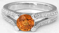 Unique Jewelry: Round Orange Sapphire Engagement Ring with Split Shank