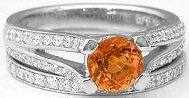 Natural Round Orange Sapphire and Split Shank Diamond Engagement Set in 14k white gold