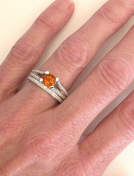 Orange Sapphire Engagement Ring and Wedding Band Engagement Set
