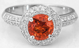 1.78 ctw Round Orange Sapphire and Diamond Halo Ring in 14k white gold