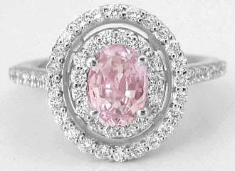 Peachy Pink Sapphire and Double Diamond Halo Ring in 14k white gold