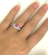 Vintage Peachy Pink Sapphire Diamond Engagement Ring