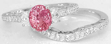 Peachy Pink Sapphire Diamond Engagement Ring