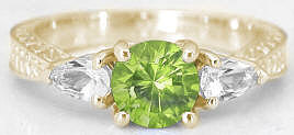Engraved 1.28 ctw Peridot and White Sapphire Ring in 14k yellow gold