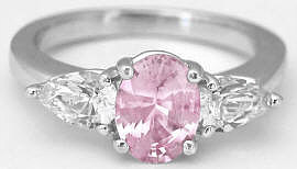 Pink Sapphire and White Sapphire Engagement Wedding Ring